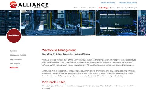 Screenshot of Products Page aent.com - Warehouse Management - Alliance Entertainment - Premier Wholesale Distributor - captured Oct. 21, 2018