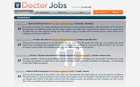 Screenshot of Testimonials Page edoctorjobs.com - Physician Jobs | Doctor Jobs | Free Healthcare Job Postings - captured Oct. 27, 2014