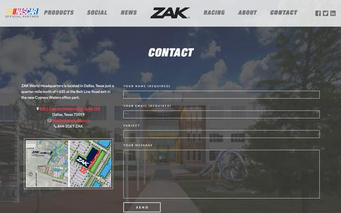 Screenshot of Contact Page zakproducts.com - Contact | ZAK Products - captured Sept. 19, 2016