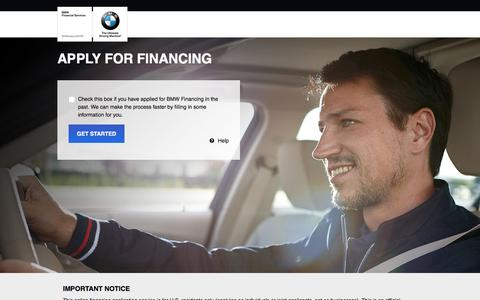 Screenshot of Landing Page bmwusa.com - Apply for Financing - BMW Credit Application - captured Aug. 14, 2016