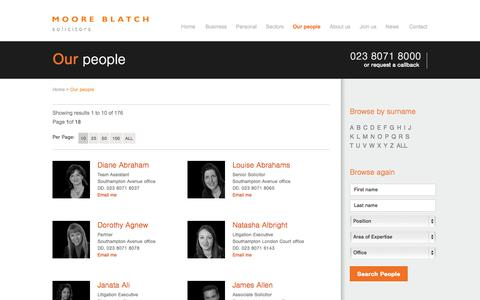 Screenshot of Team Page mooreblatch.com - Our People | Moore Blatch - captured Oct. 26, 2014