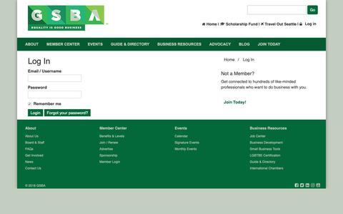 Screenshot of Login Page thegsba.org - Log In - captured Oct. 26, 2018
