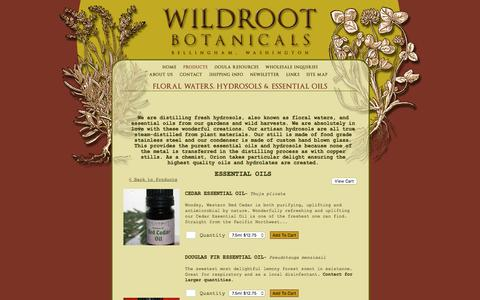 Screenshot of Products Page wildrootbotanicals.com - Wildroot Botanicals, Bellingham, WA : Products - Essential Oils - captured Feb. 23, 2016