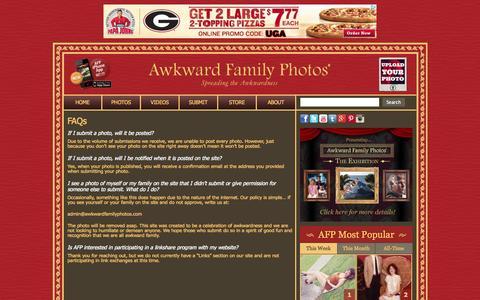 Screenshot of FAQ Page awkwardfamilyphotos.com - FAQs «  AwkwardFamilyPhotos.com - captured Sept. 18, 2014