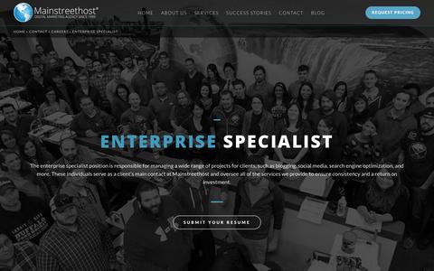 Screenshot of Jobs Page mainstreethost.com - Enterprise Marketing Specialist in Buffalo, NY | Career Opportunities at Mainstreethost - captured Oct. 28, 2017