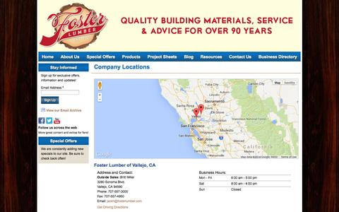 Screenshot of Locations Page fosterlumber.com - Foster Lumber Yard | Locations in Vallejo, CA / Fairfield, CA - Vallejo, CA - captured Oct. 6, 2014