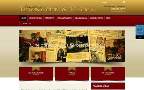 Screenshot of Home Page tacopinalaw.com - New York Criminal Attorneys | NYC Defense Lawyers | Law Offices of Tacopina Seigel & Turano, P.C. - captured Sept. 25, 2014