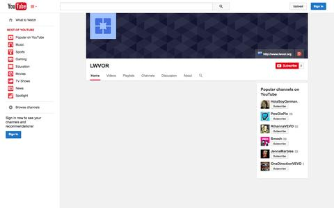Screenshot of YouTube Page youtube.com - LWVOR  - YouTube - captured Oct. 23, 2014