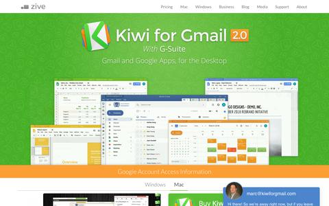 Screenshot of Home Page kiwiforgmail.com - Kiwi for Gmail - captured July 20, 2019