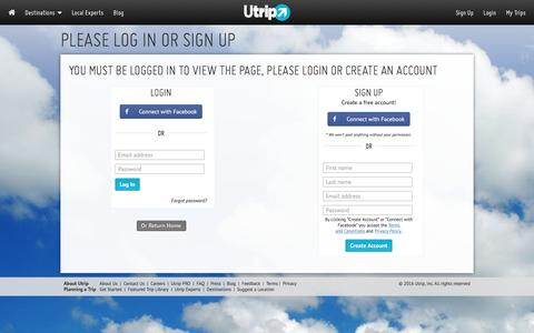 Screenshot of Signup Page Login Page utrip.com - Utrip – Where travel meets you - captured Sept. 9, 2016