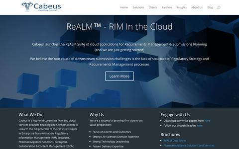 Screenshot of Home Page cabeus.com - Cabeus, Inc. | - captured Jan. 16, 2015