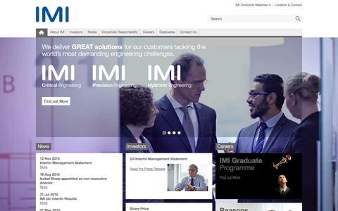 Screenshot of Home Page imiplc.com - IMI plc - captured Jan. 18, 2016