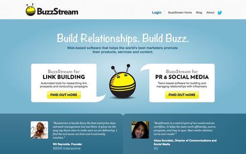 Screenshot of Home Page buzzstream.com - Link Building and Digital PR Tools - BuzzStream - captured Sept. 13, 2014