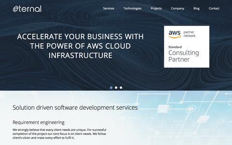Screenshot of Home Page eternalsoftsolutions.com - AngularJS & Node.js Development & Web Application Development Company in India, UK, USA - captured July 18, 2018