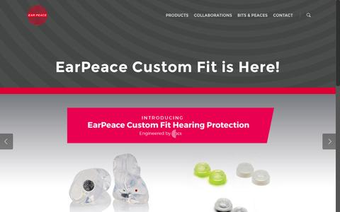 Screenshot of Home Page earpeace.com - Protect Your Hearing with the Best Concert Ear Plugs | Wear Your EarPeace - captured Dec. 13, 2014