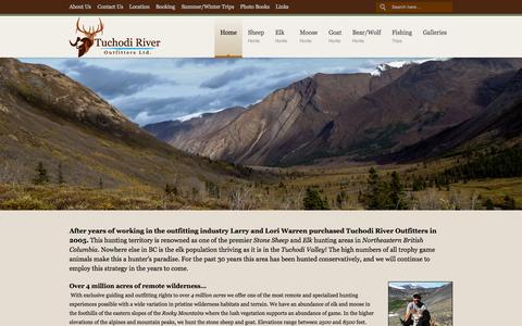 Screenshot of Home Page tuchodiriveroutfitters.com - Tuchodi River Outfitters - captured Sept. 27, 2015