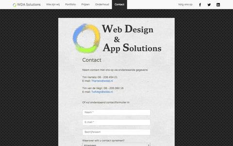 Screenshot of Contact Page wdas.nl - Web Design & App Solutions - captured Oct. 26, 2014