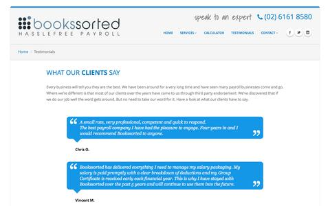 Screenshot of Testimonials Page bookssorted.com.au - Bookssorted - payroll bookeeping accounting lafha travel allowance - captured Jan. 6, 2016