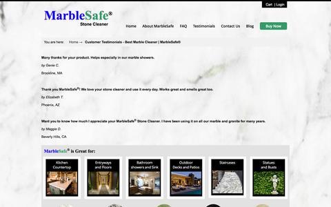 Screenshot of Testimonials Page marblesafe.com - Customer Testimonials - Best Marble Cleaner | MarbleSafe® - captured Nov. 27, 2016