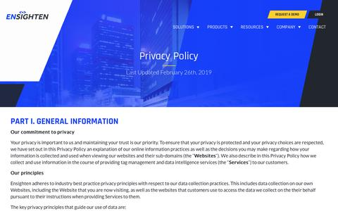 Screenshot of Privacy Page ensighten.com - Ensighten Privacy Policy - captured Aug. 28, 2019