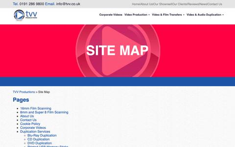 Screenshot of Site Map Page tvv.co.uk - Site Map | TVV Productions - captured Oct. 19, 2018