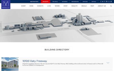 Screenshot of Maps & Directions Page memorialcity.com - work | Memorial City - captured Nov. 28, 2016