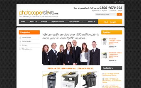 Screenshot of Home Page photocopierstore.com - The Photocopier Store | Photocopiers & Multifunction Printers - captured Oct. 2, 2014