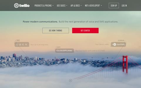Screenshot of Home Page twilio.com - Twilio - APIs for Text Messaging, VoIP & Voice in the Cloud - captured Oct. 1, 2015