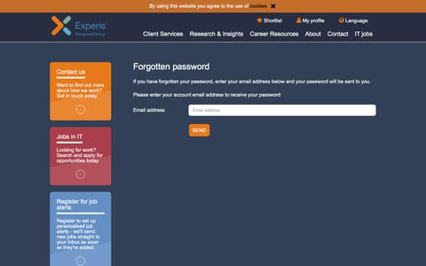 Screenshot of Login Page experis.ch - Forgotten password   Experis Switzerland - captured Sept. 19, 2017