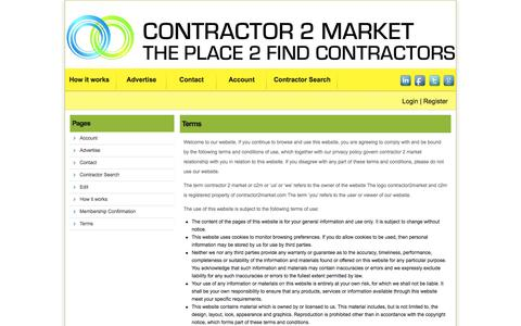 Screenshot of Terms Page contractor2market.com - Terms Â«  Contractor 2 Market - captured July 16, 2016