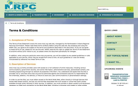 Screenshot of Terms Page nirpc.org - Terms & Conditions   NIRPC - captured Oct. 27, 2017