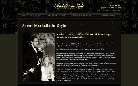 Screenshot of About Page marbellainstyle.com - Personal Concierge Services in Marbella - About us | Marbella in-Style - captured Oct. 27, 2014