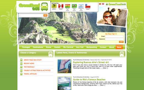 Screenshot of Press Page greentoadbus.com - Todas las noticias < News < South America - Green Toad Bus - captured Oct. 3, 2014