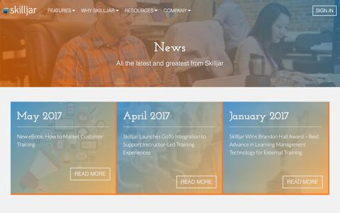 Screenshot of Press Page skilljar.com - News | Skilljar - captured June 11, 2017