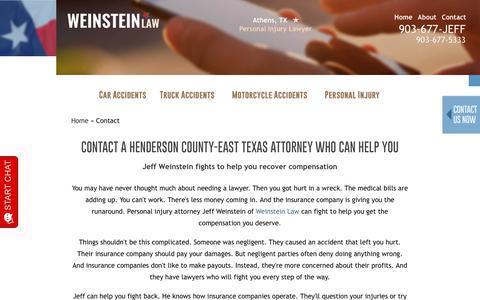 Screenshot of Contact Page jeffweinsteinlaw.com - Contact   Henderson County TX Lawyer   Attorney Jeff Weinstein - captured July 21, 2019
