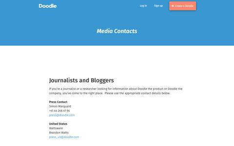 Screenshot of Press Page doodle.com - Press - Doodle's Content Pages - captured Oct. 25, 2018