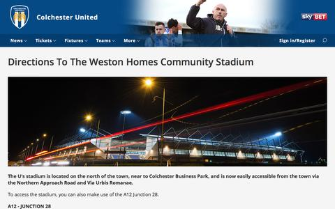 Screenshot of Maps & Directions Page cu-fc.com - Directions To The Weston Homes Community Stadium - captured June 22, 2017