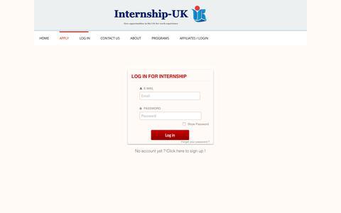 Screenshot of Login Page internship-uk.com - Apply to Internship-uk - captured June 8, 2017