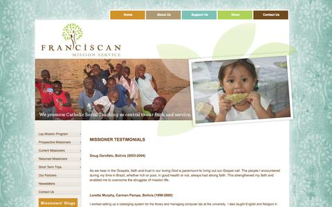 Screenshot of Testimonials Page franciscanmissionservice.org - Testimonials - captured Sept. 30, 2014