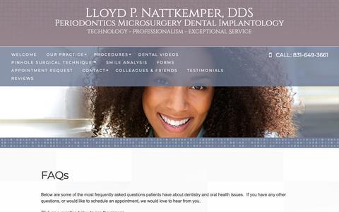 Screenshot of FAQ Page nattkemperperio.com - lloyd P. Nattkemper,D.D.S. - FAQs Monterey CA Periodontist | Dr Lloyd Nattkemper | Periodontics - captured Sept. 29, 2018