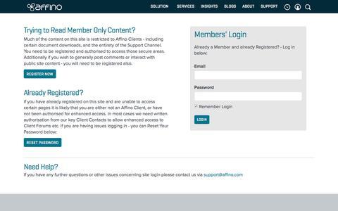 Screenshot of Login Page affino.com - Login - captured June 22, 2017