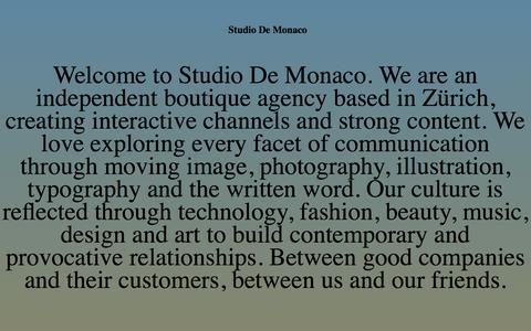 Screenshot of Home Page studiodemonaco.com - Studio De Monaco - captured Oct. 8, 2014