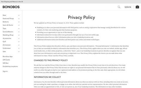 Privacy Policy | Bonobos