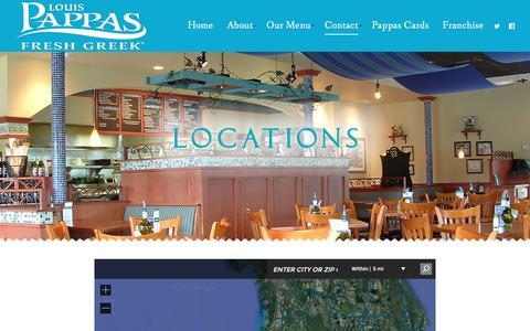 Screenshot of Locations Page louispappas.com - Locations | Louis Pappas - captured Nov. 12, 2016