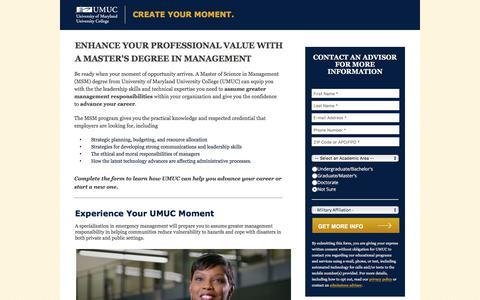 Screenshot of Landing Page umuc.edu - Online Master's in Management Degree   UMUC - captured April 20, 2018