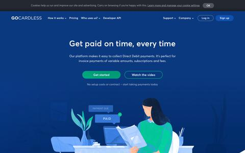 Screenshot of Home Page gocardless.com - The easiest way to collect recurring payments - GoCardless - captured June 22, 2018