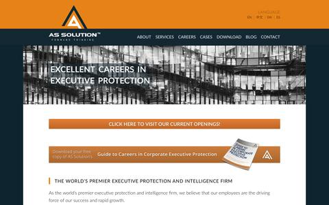 Screenshot of Jobs Page assolution.com - Corporate Executive Protection Jobs → AS Solution - captured July 23, 2016