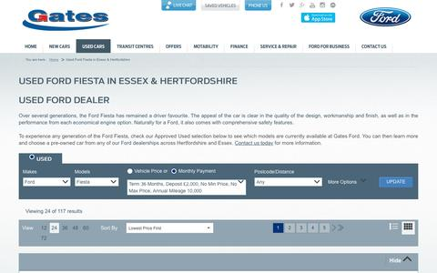 Screenshot of gates.co.uk - Used Ford Fiesta in Essex, London & Hertfordshire | Gates Ford - captured April 24, 2016