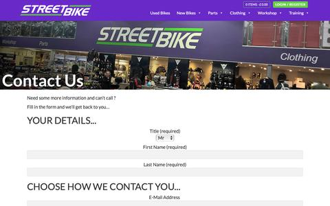 Screenshot of Contact Page streetbike.co.uk - Contact Us   Streetbike - captured Nov. 18, 2018