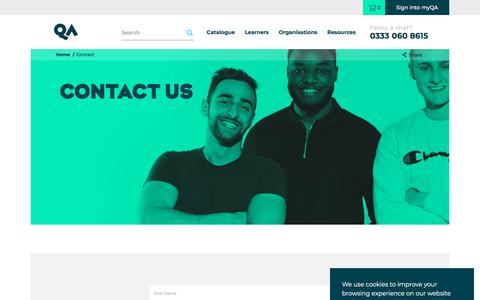 Screenshot of Contact Page qa.com - Contact Us | QA Training Courses - captured Feb. 18, 2020